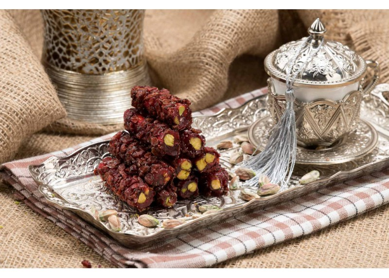 Zereshk Berries Coated Finger Turkish Delight